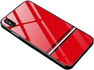 iPhone 7/8 / X/XR/XS/XS Max Carbon Fiber Shockproof Stylish Luxury Designer Fashion Case Cover with Tempered Glass Back (Red, XS Max)