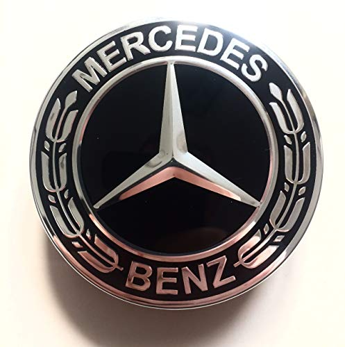 Felgendeckel Mercedes Benz 4 x 75mm Nabendeckel Radnabenkappen Radkappen Felgenkappen Nabenkappen Wheel Caps Schwarz/Chrom