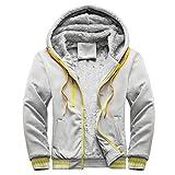 Men's Winter Workout Fleece Hoodie Pullover Jackets Casual Full Zip Wool Cardigan Warm Thick Coats Overcoat Outerwear Gray