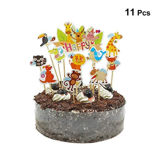 Toyvian Lindo Zoo Cake Toppers Selecciones Selva Animales Cupcake Toppers para niños Baby Shower Fiesta de cumpleaños Decoración de Pasteles Suministros 11PCS