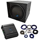 Universal Car Stereo Slotted S Port Single 12' Alpine Type S S-W12D4 Sub Box Enclosure with S-A60M Amplifier & 4GA Amp Kit