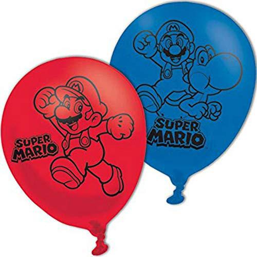 Lote de 12 Globos Infantiles Decorativos de Latex'Super Mario Bros' Juguetes y Regalos Baratos para Fiestas de Cumpleaños, Bodas, Bautizos, Comuniones y Eventos. Decoración Hogar.