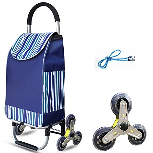 Einkaufswagen Klettergerüst Cart Save Folding Trolley Tragbare Supermarkt Last 40kg Mit 39L wasserdichte Tasche und elastisches Seil mit Tri-Rädern