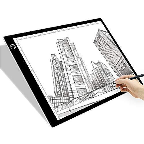 SAMTIAN A3 Tablette Lumineuse Ultra-Mince Portable Planche à Dessin LED Copie Board Stepless Dimming avec Câble USB pour Artistes Dessin Esquisse Tatouage Animation Pochoir Visualisation aux Rayons X