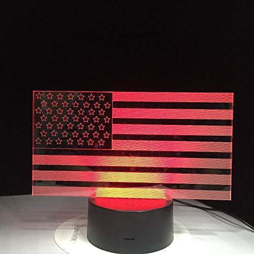 Creatieve 7 Kleurrijke Gradiënten Sfeer Visuele 3D USA Vlag LED Nachtlampje USB Tafellamp Nachtlampje Thuis Decor Gift 3D-975 A-1643