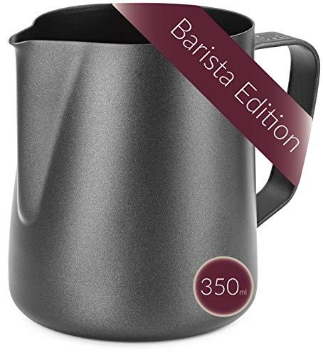 Lambda Coffee® Barista Milchkännchen Edelstahl 350ml | Milchkanne schwarz