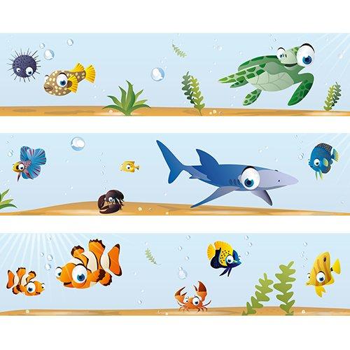 """Wandkings Bordüre """"Ozean Unterwasserwelt"""" Länge: 450 cm, selbstklebend, für's Kinderzimmer"""
