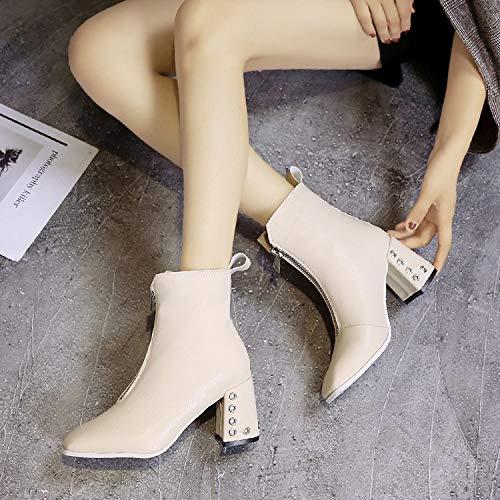 Shukun enkellaarsjes Women'S Boots witte laarzen herfst en winter voorzijde rits vierkant hoofd Martin laarzen hoge hakken dik met