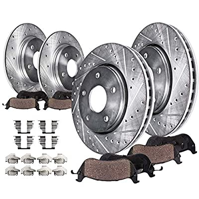 Detroit Axle - Complete FRONT & REAR DRILLED & SLOTTED Brake Kit Rotors & Ceramic Brake Kit Pads w/Hardware fits 2005 2006 2007-2009 Buick Allure Lacrosse & 2005-2008 Pontiac Grand Prix