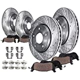 Detroit Axle - All (4) Front and Rear 282mm Drilled and Slotted Disc Brake Kit Rotors w/Ceramic Pads w/Hardware for 2008 2009 2010 Honda Accord