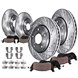 Detroit Axle - Complete FRONT & REAR DRILLED & SLOTTED Brake Kit Rotors & Ceramic Brake Kit Pads w/Hardware fits 2007 2008 2009 2010 2011 2012 Nissan Altima - 2013 COUPE