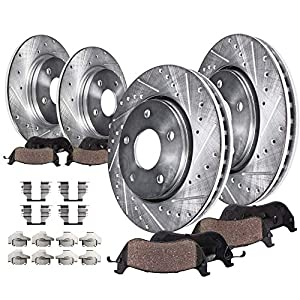Detroit Axle 8PR1200549 Front and Rear Drilled Slotted Disc Brake Rotors, Ceramic Brake Pads w/Hardware