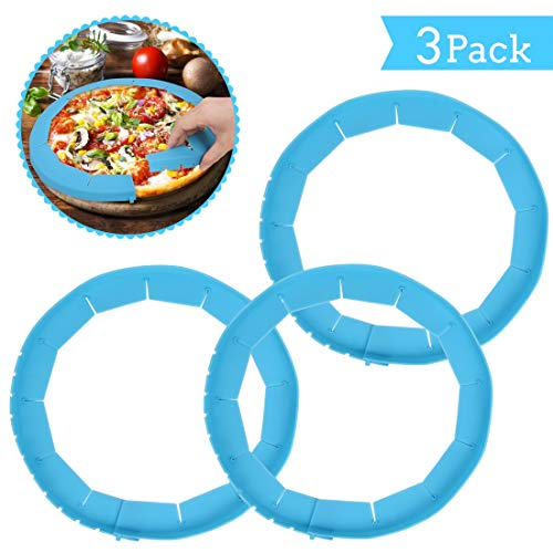 Pie Crust Protector Shield Adjustable Food Safe Silicone Pie Protectors Pack of 3 for Baking Pie Fit 8 to 11.5 Inch Diameter Pies (Blue)