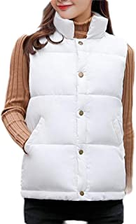 Macondoo Womens Button Down Puffer Vest Quilted Stand Collar Winter Down Vest Coat
