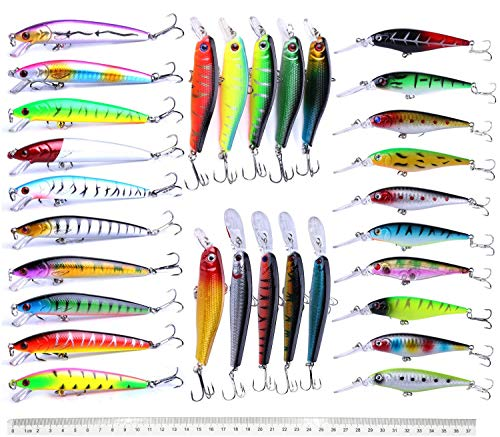 Fishing Lures Set Large Hard Bait Minnow Lure with Treble Hook Swimbait Fishing Bait Sinking Lure for Bass Trout Walleye Redfish Saltwater Freshwater (30PCS-A)