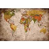 GREAT ART® Mural De Pared – Viejo Mapa del Mundo – Mirada Usada Globo Continentes Atlas Retro Vieja Escuela Vintage Terráqueo Geografía Foto Papel Tapiz (210 X 140 Cm)