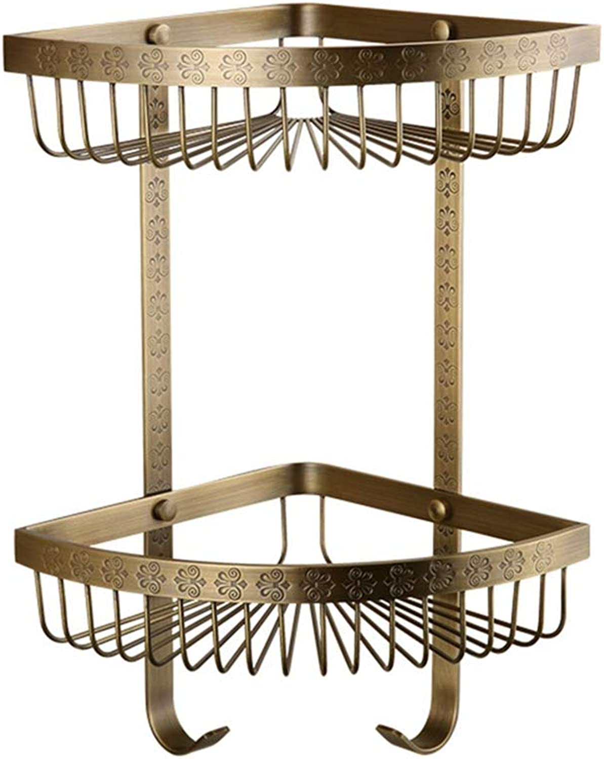 LUDSUY All Copper Antique Carved Antique Double Triangle Basket Triangle Basket Racks Bathroom Accessories Copper Basket