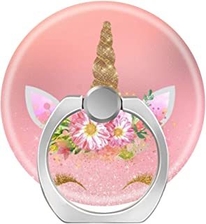 360 Degree Finger Stand Cell Phone Ring Holder Car Mount with Hook for Smartphone-Unicorn Smiling Lashes Pink Rose Gold Glam Flowers