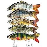 5Pcs Fishing Lures for Bass Trout 1.4~3.9' Multi Jointed Swimbaits Slow Sinking Bionic Lifelike...