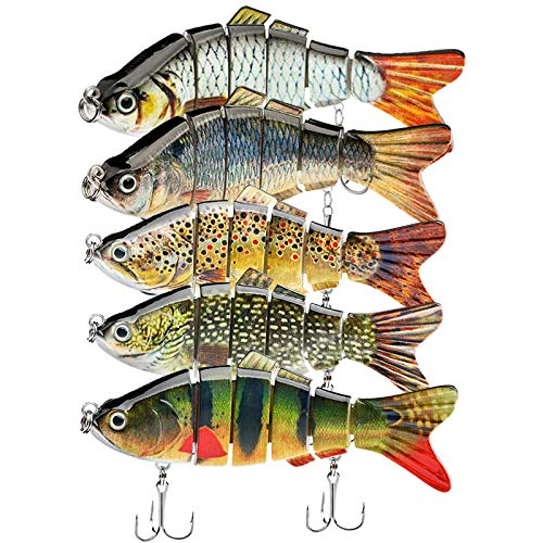 """TANJULURE 5Pcs Fishing Lures for Bass Trout 1.4~3.9"""" Multi Jointed Swimbaits Slow Sinking Bionic Lifelike Swimming Bass Lures Freshwater Saltwater Bass Fishing baits Kit (Color-A)"""
