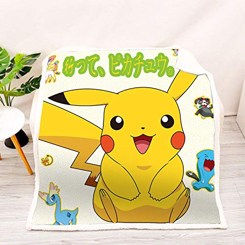 YKOUT 150X200Cm Pokemon Anime Print Sherpa Decke, Sofa Couch Wandern Picknick Quilt Cover Bettwäsche Throw Fleece Decke