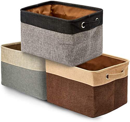 Milu deer Caja de Almacenamiento Plegable 3 unids, Caja de Almacenamiento Plegable de Lino de algodón Grande con asa, Usado para Ropa, Juguetes, Libros en Tres Colores (Color : Beige+Black+Coffee)