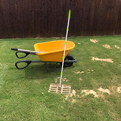 Scalebeard Lawn Leveling Rake, 6.5 FT Lawn Leveling Rake with Stainless Steel Pole,Level Soil or Dirt Ground Surfaces Easily, Suit for Garden Backyard Golf/Lawn(6.5 FT,17 X10In)