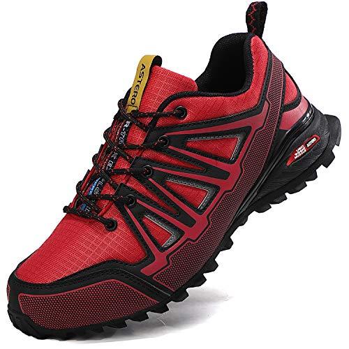 ASTERO Zapatillas de Deportes Hombre Running Zapatos para Correr Gimnasio Calzado Deportivos Ligero Sneakers Transpirables Casual Montaña Calzado Talla 41-46 (Negro Rojo, Numeric_45)