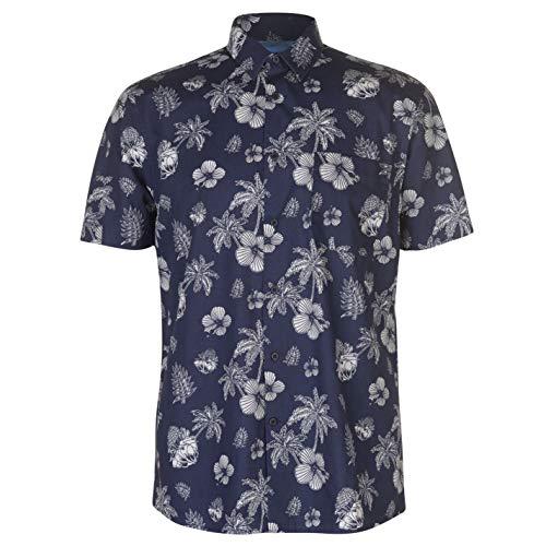 Pierre Cardin - Camicia floreale da uomo, maniche corte Bleu Marine/Blanc Palm XXL