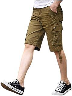 VICCKI Men's Cotton Multi-Pocket Overalls Shorts Fashion Pant