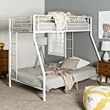 Walker Edison Dunning Urban Industrial Twin Over Double Metal Bunk Bed, Twin Over Double, White