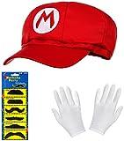 Conjunto de Super Mario con Gorra roja + Guantes Blancos + Barbas Adhesivas para Adultos y niños- Ideal para el Carnaval, Fiesta de Disfraces – Sombrero/Gorra para Hombres y Mujeres