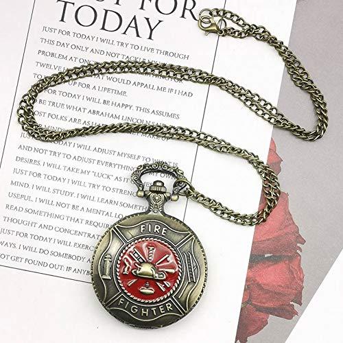 ERDING Pocket horloges, verjaardag dag, antieke bronzen Pocket horloge klassieke rode Fire Fighter symbool snijden slanke ketting creatieve studenten jongens klok beste brandweerman cadeau