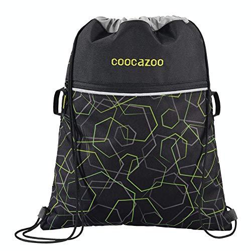 """Coocazoo Sportbeutel RocketPocket """"Laserbeam Black"""", schwarz, mit Reißverschlussfach und Kordelzug, reflektierende Elemente, Schlaufen zur Befestigung am Schulrucksack, für Jungen, 10 Liter"""