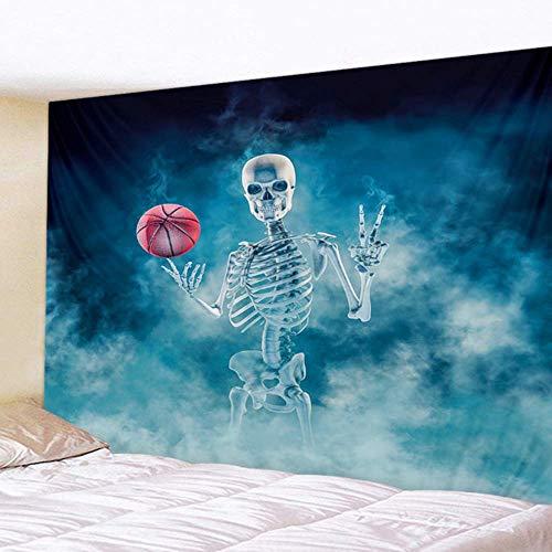 Gogh Schlafzimmer-Wandteppich, mit menschlichem Skelett-Sport-Tätigkeiten, Halloween-Tapisserie für Schlafzimmer-Wohnzimmer-Büro,03,51 * 59in(130 * 150CM)