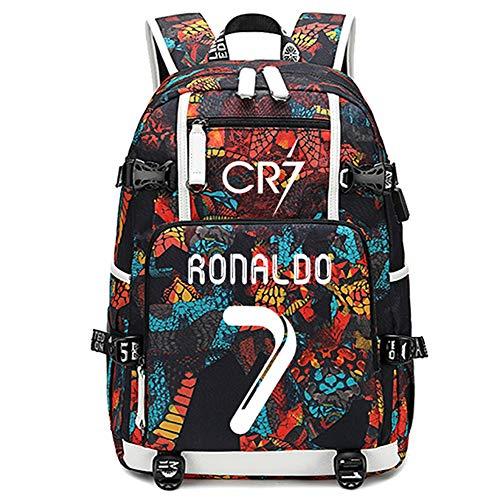 jogador de futebol Cristiano Ronaldo mochila multifunções luminosa laptop de viagem estudante fãs de futebol bolsa para homens mulheres (padrão vermelho 1)