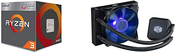 AMD Ryzen 3 3200G 4-Core Unlocked Desktop Processor with Radeon Graphics and Cooler Master MasterLiquid LC120E RGB All-in-one CPU Liquid Cooler with Dual Chamber Pump Latest Intel/AMD Support