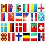 TLM Toys Flaggen Zum Bunting Europäische Flaggenflaggen,Welt Banner 24 Länder Fußballschnur Flagge,Fahne Advent Für Garten-, Bar-, Restaurant- Und Partydekoration(Bannergröße 30 X 20 cm)