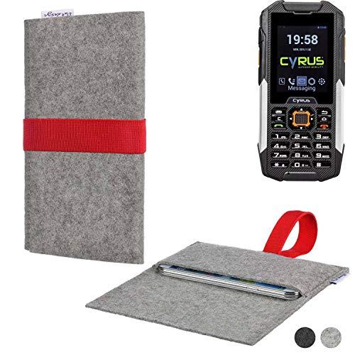 flat.design Handy Hülle Aveiro für Cyrus cm 16 maßgeschneiderte Handytasche Filz Tasche Sleeve Pouch Grau rot