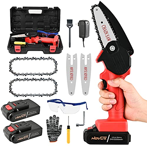Mini Chainsaw Cordless Power Chain Saw, HOVUX Upgraded 4 Inch Handheld Electric Chainsaw Kit, 24V 2200mAh Battery Operated Pruning Saw, Tree Trimmer Branch Pruner for Cutting Wood Garden Tool