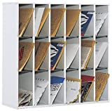 Safco Products Wood Mail Sorter, 18 Compartment, Gray