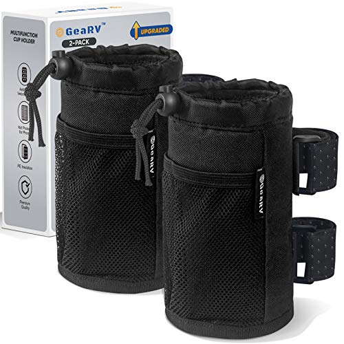 GEARV 2Pack Cup Holder for Bike, Scooter and Wheelchair, Water Bottle Holder for UTV ATV, Walker, Golf Cart and Beach, Universal Drink Holder Accessories with Net Pocket and Cord Lock (Black)