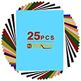 HTV Heat Transfer Vinyl Bundle - 25 Pack 12'x10' Assorted Colors Sheets for DIY T-Shirts Clothing- Iron On Vinyl for Silhouette Cameo,Cricut or Heat Press Machine Tool-Teflon Sheet Included