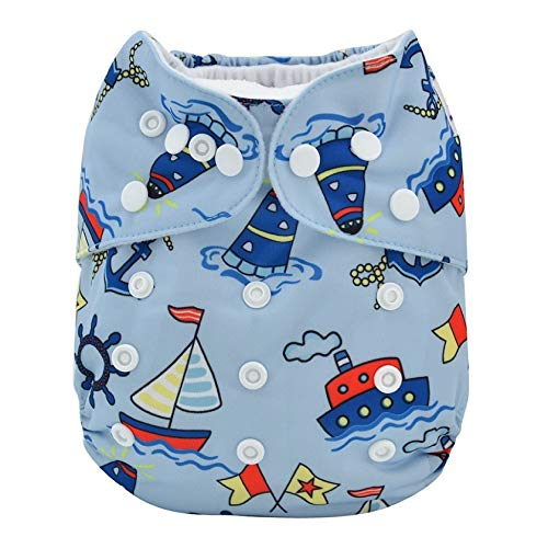 Alvababy Alva Baby Aio Cloth Diaper for Babies (with 4-Layer Premium Bamboo Insert),Washable Reusable All in One Cloth Diapers (Boat)