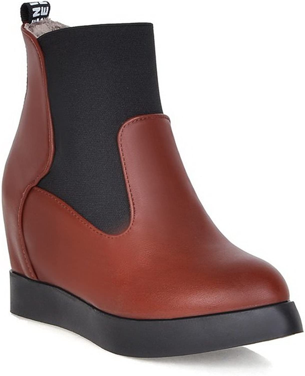 AdeeSu Ladies Heighten Inside Pull-On Platform Imitated Leather Boots