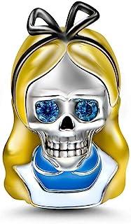 GNOCE Alice Skull Charms Sterling Silver Alice مع سحر الشعر الأصفر الخرزة صالح سوار / قلادة مجوهرات للنساء الفتيات