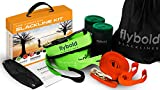 flybold Slackline Kit with Training Line Tree Protectors Ratchet Protectors Arm Trainer 57 feet Easy...