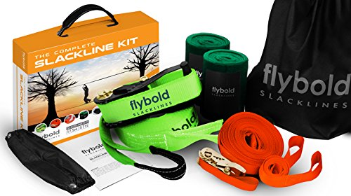 flybold Slackline Kit with Training Line Tree Protectors Ratchet Protectors Arm...