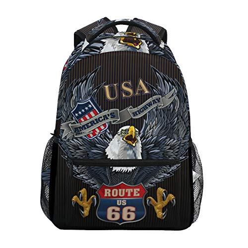 Rucksack mit amerikanischer Adler mit USA-Flagge, Schulrucksack, große Kapazität, Canvas, lässiger Reise-Tagesrucksack, für Kinder, Erwachsene, Teenager, Frauen und Männer