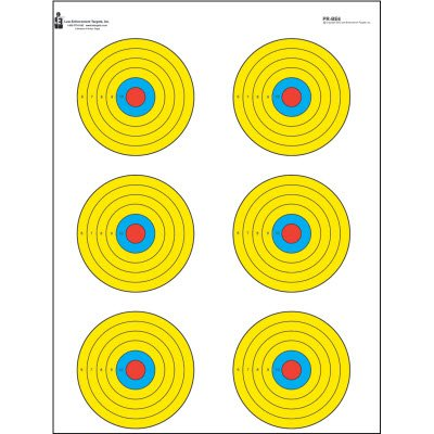 Action Target - High Visibility Fluorescent 6 Bull's-Eye Paper Target - 100 Pack - Paper Targets, Shooting Targets